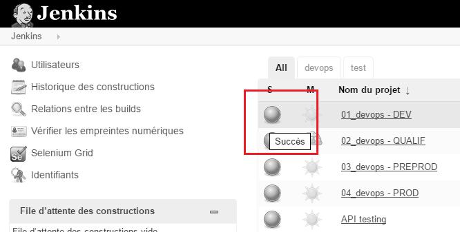 L'interface de Jenkins est compréhensible même en noir et blanc.