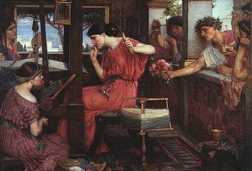 Pénélope et les prétendants, tableau du peintre préraphaélite John William Waterhouse, 1912