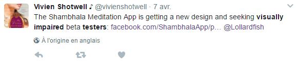 Vivien Shotwell, sur Twitter, lance un appel pour recruter des bêta-testeurs aveugles.
