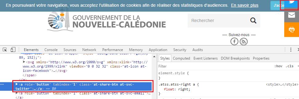 On retrouve le même bout de code sur le site du gouvernement que sur le site de l'OPT.