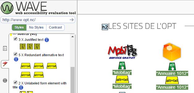 Nous analysons le site web de l'OPT avec le logiciel WAVE.